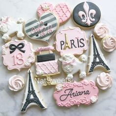 """508 Likes, 15 Comments - Natasha (@natsweets) on Instagram: """"Paris themed cookies """""""