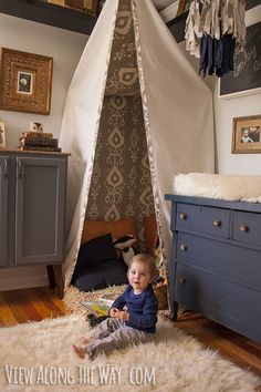 """I like this tent form. Maybe baby blue """"sky"""" kind of interior though? This is a little moody for us I think. Love the shag, though!"""