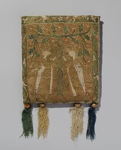Pouch (Forel)  Date:     14th century Culture:     French Medium:     Silk and metal thread on canvas. Dimensions:     Overall: 8 3/4 x 8in. (22.2 x 20.3cm) Classification:     Textiles Credit Line:     Fletcher Fund, 1946 Accession Number:     46.156.34a–e