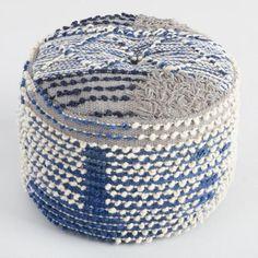 "World Market: Indigo Blue Wool Boho Pouf - v1. 16""Dia. x 10""H. $120"