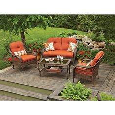 Shop for Patio & Garden Collections in Patio & Garden. Buy products such as Better Homes and Gardens Azalea Ridge Patio Dining Set, Outdoor Wicker Cushioned 5 Piece at Walmart and save. Outdoor Sofa, Outdoor Wicker Furniture, Garden Furniture Sets, Outdoor Living, Outdoor Decor, Wicker Table, Furniture Ideas, Furniture Stores, Porch Furniture