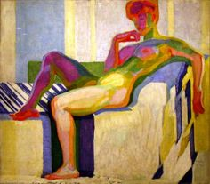 Planes by Colors, Large Nude, Oil On Canvas by Frantisek Kupka (1871-1957, Czech Republic)