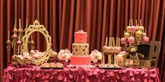 Pink gold leopard ballerina girl baby shower dessert candy table by Chloe Cook Events