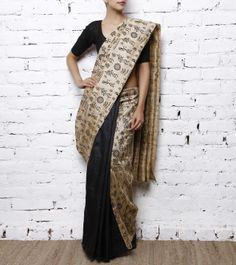 Beige and Black Cotton Silk Saree