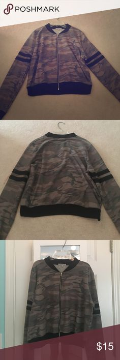 Camouflage Crop Jacket Charlotte Russe Camo Jacket with Black Stripes. Only worn once. Charlotte Russe Jackets & Coats