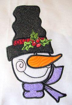 Christmas Snowman Machine Applique Embroidery Design