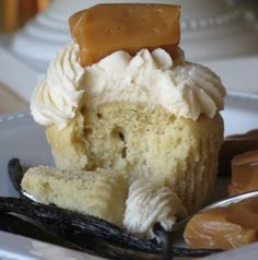 A Vanilla Bean Pound Cake with Salted Caramel Butter Cream Cupcake.