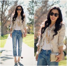 Love the mix of slouchy jeans with heels and glitz