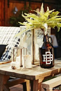 Décor with lanterns at Meritt Elliott and John Rankin's backyard dinner party