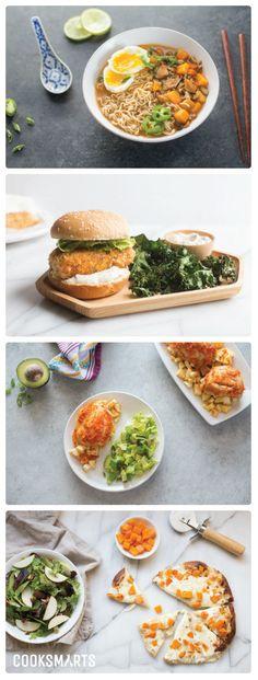 Weekly Meal Plan Menu | Week of 2/6/17 via @Cook Smarts - Thai Chicken Ramen, Panko Crusted Fish Sandwiches, Piri Piri Chicken, and Roasted Butternut Squash Hummus Pizza. #mealplan #mealplanning #homecooking #weeknightdinner