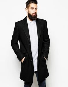 $184, Black Overcoat: Asos Brand Wool Overcoat In Black. Sold by Asos. Click for more info: https://lookastic.com/men/shop_items/147159/redirect