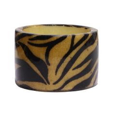 "Fashion Tiger Print Bangle; 2.5"" Diameter And 2""L; Tan And Black Tiger Print; Wooden Bangle With Acrylic Coating Eileen's Collection. $24.99"