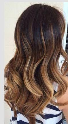 Dark brunette at crown to blonde ombré