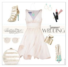 """Summer Wedding Guest"" by ultracake ❤ liked on Polyvore featuring Moschino, Betsey Johnson, Edie Parker, Lilly Pulitzer, Lauren Ralph Lauren, AERIN, Smashbox, Gucci, Christian Dior and Karen Walker"