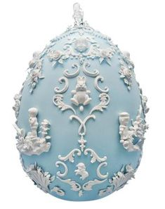 """Egg created by Beth Katleman for the 2014 Fabergé big-egg hunt. Made of """"over 600 handmade porcelain flowers, pearls, bunnies and cast flea-market treasures."""" """"I've always loved the fancy sugar Easter eggs with little bunnies inside,"""" Katleman said."""