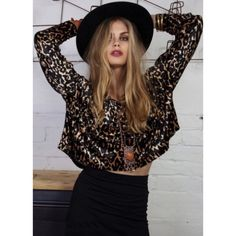 """Minkpink Animal Kingdom Velvet Top Cropped oversize velvet scoop-neck top featuring long sleeves and an asymmetrical hem that is longer at back. Measures approximately 18"""" from shoulder to shorter front hem. In excellent condition! MINKPINK Tops"""