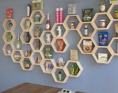Honeycomb Shelving - Unfinished Set of Three Hexagon Shelves - Kitchen Shelves - Nursery Shelves - Do it Yourself Shelf - Cubby Organizers Cubby Shelves, Nursery Shelves, Kitchen Shelves, Wood Shelves, Glass Shelves, Corner Bookshelves, Wall Shelving, Shelf Wall, Shelving Ideas