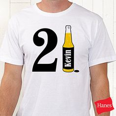 Personalized Birthday T-Shirts for Him - 21st Birthday Beer (White) - Birthday Gifts