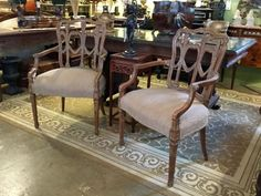 Pair of Light Wood Chairs With Light Brown Fabric   Dealer #0108  $388 Pair   Lucas Street Antiques Mall 2023 Lucas Dr.  Dallas, TX 75219  Like us on Facebook: https://www.facebook.com/lucas