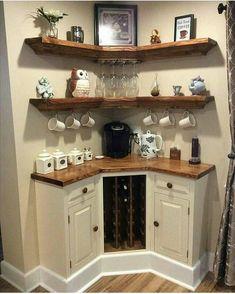 Smart DIY Coffee Bar Design Ideas for Kitchen - Page 6 of 37 Wine And Coffee Bar, Coffee Bars In Kitchen, Coffee Bar Home, Tidy Kitchen, Kitchen Corner, Corner Wine Bar, Kitchen Pantry, Kitchen Small, Gloss Kitchen