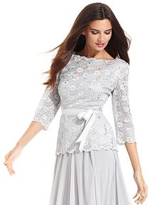 Alex Evenings Top Three Quarter Sleeve Sequin Lace Skirts Women Evening Topstops