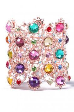Multi Jewel Bracelet in Gold