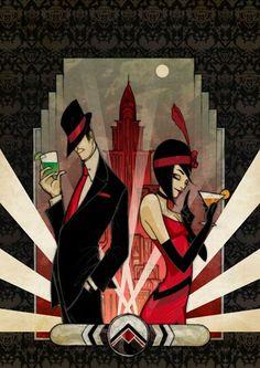 Modern Art Deco speakeasy poster