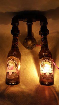 Vintage Industrial Edison Steampunk Beer Bottle lamp wall sconce hanging light w/ Shocktop Pumpkin Wheat Bottles! by RepurposedTX on Etsy