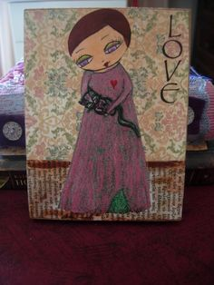 Love  a girl and her cat / Original Mixed media by eltsamp on Etsy, $44.00