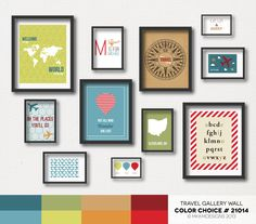 Travel Nursery Gallery Wall - Color Choice #21014 | Modern Primary Colors - Teal, Blue, Green, Orange, Red