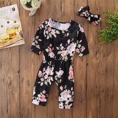 664076cc2 Newborn Kids Girls Flower Print Outfits Clothes Romper Jumpsuit+Headband  Set Fashion Baby Girl Cotton Long Sleeve Clothing Sets