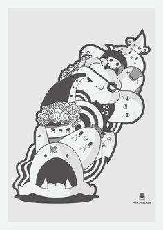 Doodle, by Milk Mustach. Cute Doodle Art, Doodle Art Drawing, Kawaii Doodles, Cute Doodles, Unique Drawings, Art Drawings, Doodle Monster, Doodle Characters, Creature Drawings