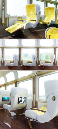 """This is only a projection of a Eurostar train running between Paris and London as designed by Christopher Jenner, but we think it sounds amazing: """"The carriage finished in hardwood, brushed Brass and Carbon fibre illustrates a hybrid of the golden age and the new. Individual accommodation in single seats provides essential armrest services (air, power, connection) and retractable privacy, while large screen windows open a view to the world flying by."""""""