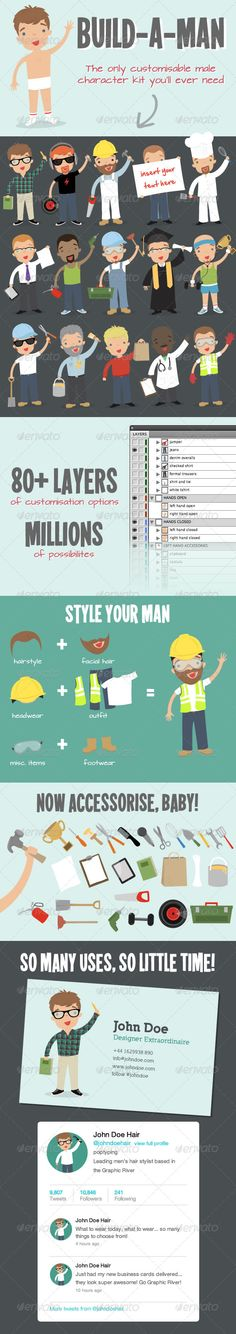 Build a Man Kit - Customisable Business Mascot  #GraphicRiver         Highly customisable illustrated male character pack. Provides designers with a virtually endless library of male characters, all created in a high-quality easy-to-edit vector EPS file.  Personalise your character by selecting from a huge list of options, including hairstyle, hair-colour, facial hair and eye colour.