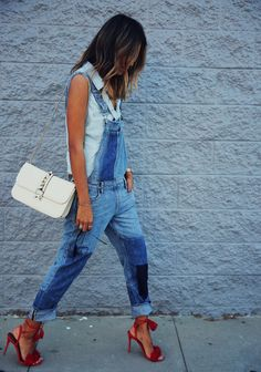 denim overall + sleeveless shirt