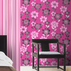Create a bold and stylish look in your home with this Margarita Cerise Wallpaper from Coloroll. This wallcovering is a funky floral design bursting with bright colours and print will brighten up any home. This wallpaper is available in a variety of colours for just £7.99 per 10m roll from The Range Online.