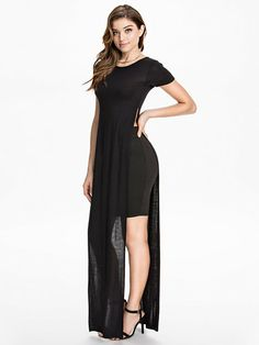 T - Shirt Slit Maxi Dress - Club L Essentials - Svart - Kjoler - Klær - Kvinne - Nelly.com