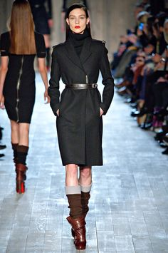 Well-made, military-inspired coats at Victoria Beckham fall 2012