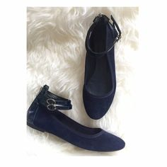 """HP Parisian Ballet Ankle Flats  HP """"Work Week Chic"""" by @jmacci7 on 3/14. Blue (suede like) ankle flats with adjustable straps and back zippers. They are the sweetest pair.  Brought them back from France last year and only had the chance to wear twice. Sz 38 EUR, US 8 (but can fit size 7.5). Downsizing my closet since I'm heading back this year. Scratch  on right interior flat). Made in Paris. Priced to sell, yours to enjoy ❤️. Andre Paris Shoes Flats & Loafers"""