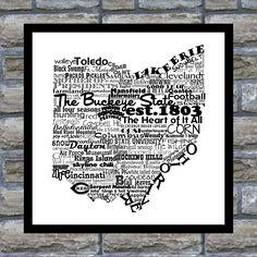 Ohio State Word Art Typography Print- 12x18 The Buckeye State Ohio State Pride. $22.00, via Etsy.