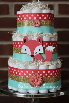3 Tier Coral Mint and Gold Fox Diaper Cake by BabeeCakesBoutique