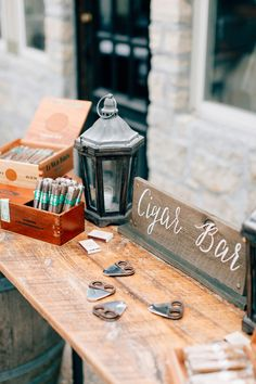 Cigar Bar - Melissa and Eric's Classic Wedding in Saint Louis captured by Mike Cassimatis - via Grey likes weddings (Caterer: Catering St. Louis)