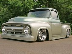 56' F100. Wouldn't be so bad, but I'm not a fan of dropped trucks, nor the paint. That body style, though.