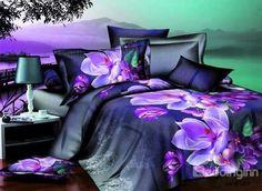 Amzing Purple Flower Print 4-Piece Cotton Duvet Cover Sets http://www.beddinginn.com