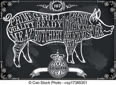 line drawing of butcher menu - Google Search