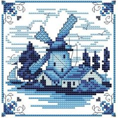 Blue Delft - Windmill - DIGI CROSS STITCH