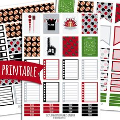 Football PRINTABLE Planner Stickers for Erin Condren Vertical | Sticker Printables | Happy Planner Stickers | Sports Stickers | Game Day