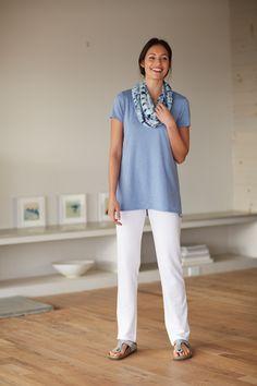 Pure Jill scoop-neck elliptical tee, the Pure jill slim leg pants, and the Pure Jill tie-dye print infinity scarf.