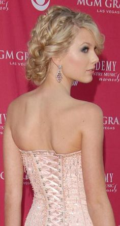 Hair, Pink, Makeup, Wedding, Updo, Gold, Formal, Taylor, Highlights, Bangs, Swift