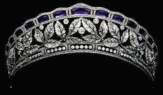 Otrante Amethyst Tiara. Dukedom bestowed 1808 by Napoleon I upon  statesman/Minister of Police Joseph Fouché. Named after town Otranto on E coast of Italy. The ducal house is extant in Sweden where the dukes have lived since the 1800s. As of 2011, the titles are held by Charles-Louis Armand Fouché d'Otrante, 8th Duc d'Otrante (born in Stockholm, 14 March 1986).worn by Countess Birgitta d'Otrante at the wedding of Princess Benedikte of Denmark to Prince Richard of S-W-B in 1968.
